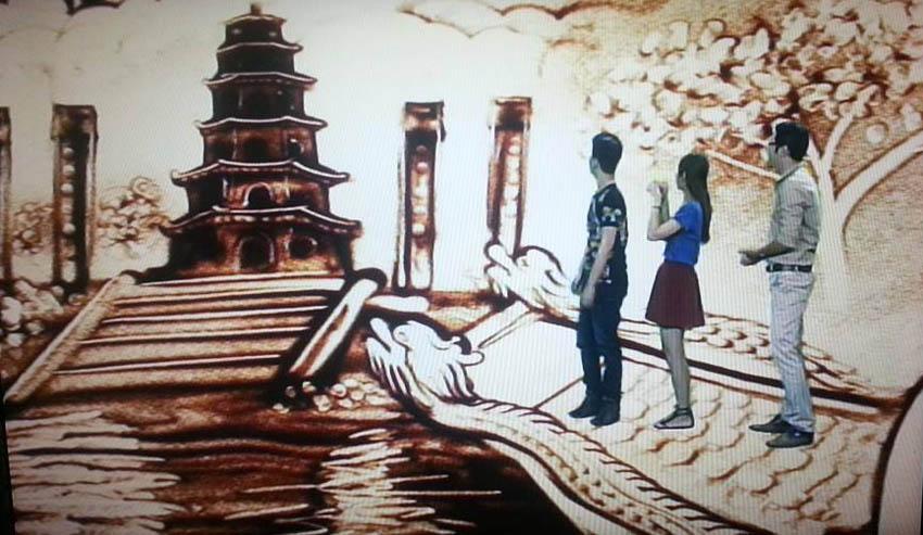 Tranh cát về Huế với chùa Thiên Mụ